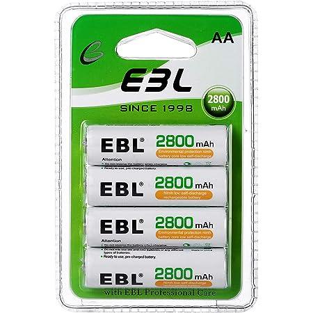 EBL 1.2V AA Batterie Ricaricabili Ad Alta Capacità,Pile Ricaricabili da 2800mAh Ni-MH con 1200 volte,Confezione da 4 pezzi