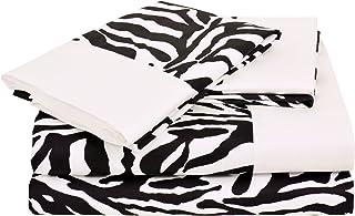 Elite Home Regal Collection 300 Thread-Count Zebra Print King Sheet Set, Black/White