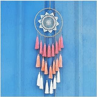 Handmade 8inch/20cm Tassel Dream Catcher Wall Hanging Decoration Beautiful Item Dreamcatcher Christmas Gift (Pink)