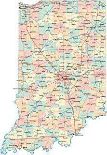 indiana state map with counties and roads