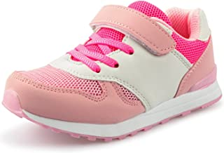 (ダダウン)DADAWEN 子供靴 スニーカー 男の子 女の子 運動靴 通気 コンフォート ジュニア スポーツシューズ 履き心地抜群 滑り止め 通学靴 ピンク 23.5cm
