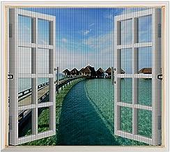 Copechilla vliegengaas voor ramen, 130 cm x 150 cm, grijs, met klittenbandsluiting en ritssluiting, eenvoudig te installer...