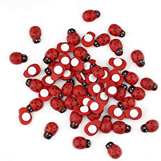 100 Pcs Wooden Ladybird Ladybug Sticker Children Kids Painted Adhesive Back DIY Craft Home Party Holiday Decoration