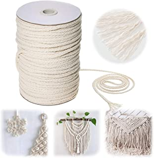 Jeteven Macrame Cord (109Yards/5MM) Natural Cotton Rope Twine DIY Craft Making Knitting String Rope Perfect Supplies for P...
