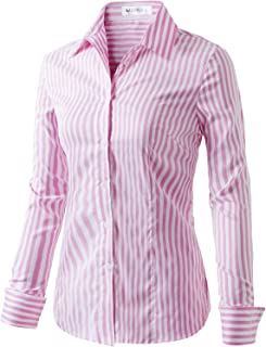b795fda3fd9 CLOVERY Women s Basic Long Sleeve Slim Fit Button Down Shirt