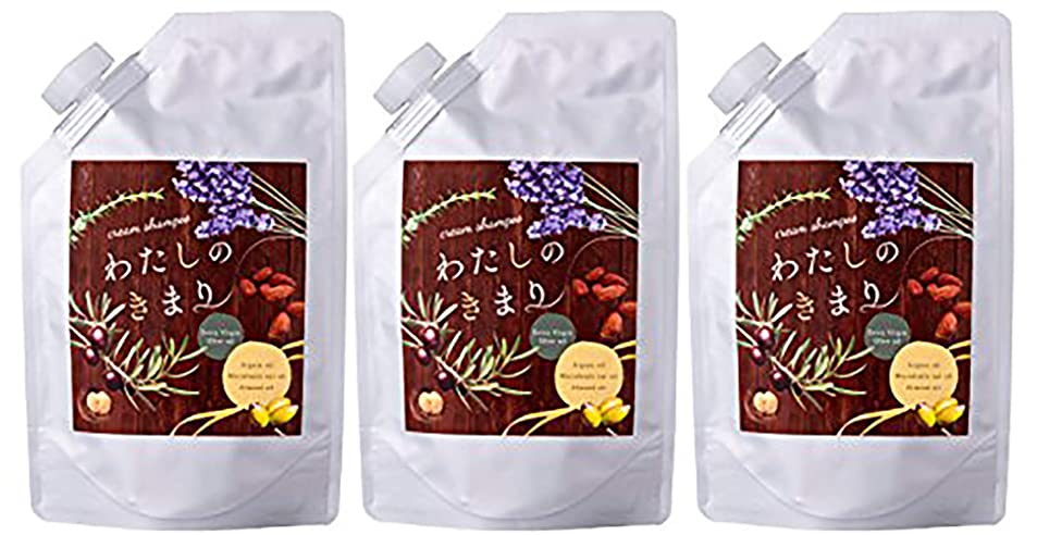 シルクいちゃつくキャプチャーファンファレ わたしのきまり (3袋セット) クリームシャンプー [ノンシリコン 合成界面活性剤不使用] 指通りなめらか フローラルの香り リニューアル前 250g×3袋