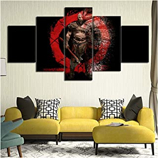 5 Panels Prints on Canvas Wall Decoration God War-Kratos HD Poster Wall Art Picture Artistic Mural Picture Painting for Home Living Room Bedroom Office Bar Decor,Y,20302+20402+20501