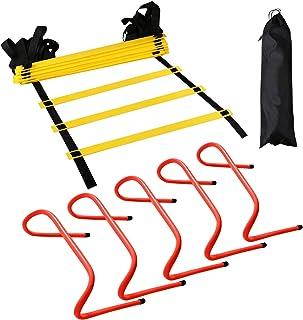 12 پله آموزش نردبان چوبی - با کیسه حمل ، 5 قطعه اضافی با سرعت 6 اینچ با سرعت - تجهیزات ورزشی تناسب اندام برای همه اهداف فوتبال فوتبال