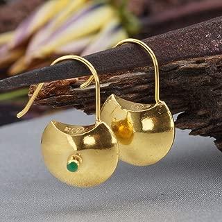 925k Silver Purse Earrings W/Jade 24k Yellow Gold Plated Handcrafted Turkish Designer Jewelry Women Dangle Earrings