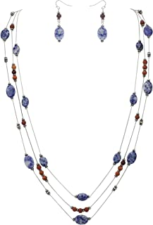 Coiris Simulated Turquoise Beads Strand Statement Necklace for Women with Earrings