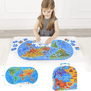 OUYAWEI World Map Jigsaw Puzzle Kids Educational Toys Culture Geography Recognition Toy Gift 100PCS/Set