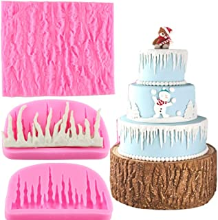 Mujiang Tree Bark Texture Icicle Silicone Lace Fondant Cake Mold Set Of 2