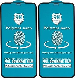 شاشة حماية لاصقة منحنية زجاج مقوى نانو بوليمر مقاومة للصدمات لموبايل ابل ايفون 11 برو ماكس، 6.5 بوصة، قطعتين - اسود