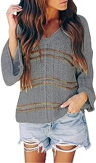 Women Blouse Striped V Neck Long Sleeve Lightweight Pullover Sweater Top