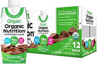 Orgain Organic Nutritional Shake, Creamy Chocolate Fudge - Meal Replacement, 16g Protein, 20 Vitamins & Minerals, Gluten & Soy Free, Kosher, Non-GMO, Packaging May Vary, 11 Oz, 12 Count