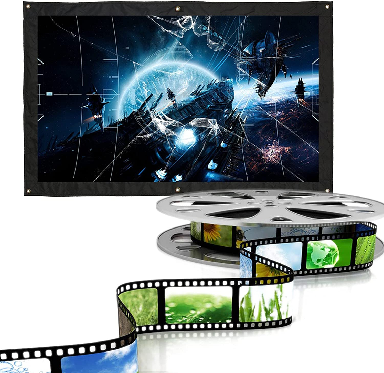 16:9 Indoor Outdoor Projection Screen Portable 60/72/100/120/150 inch Home Theater Movie Projection Screen Anti-Crease Curtain Video Projection Screens for Home Cinema, Meeting( 120 inch)