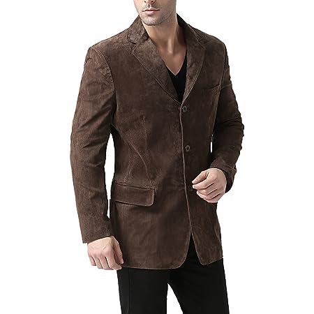 BGSD Men's Robert 3-Button Leather Blazer Suede Sport Coat Jacket (Regular, Big & Tall and Short)