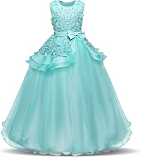 Children's Performance Dress - Lace Flower Ball Gown for Girls - Mint Green - 6-8 Years