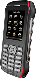 Plum Ram 6 - Rugged Unlocked Cell Phone GSM Shock Water Proof IP 68 Certified Military Grade Camera Flash Light FM Radio Bluetooth SD Card Slot Dual Sim - Black/Red
