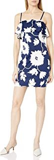 GUESS womens NAVY AND WHITE PUFFED PRINTED SCUBA DRESS Casual Night Out Dress