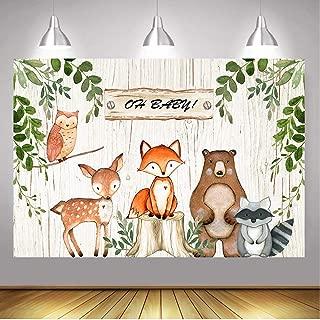 BoTong 6x4ft Vinyl Woodland Animal Baby Shower Backdrop Woodland Safari Animals Wood Board Photography Background Woodland Creatures Party Banner Backdrops