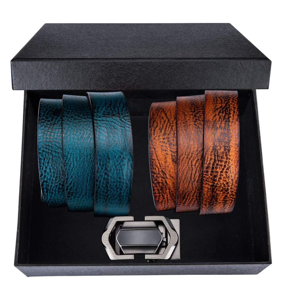 YUANZYYD Cinturón De Hombre,Marrón Cinturones Azules para Hombres Hebilla Automática Piel De Vaca Vaqueros De Cuero Genuino Correa para El Cinturón Cinturón De Boda En Caja Cinturones De Negocios@1: Amazon.es: Deportes y