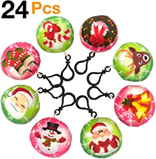 OHill Christmas Tree Ornaments Stocking Decorations 24 Pcs Christmas Emoji Plush Keychains (8 Different Christmas Element Design) for Party Favors Goodies Bag Fillers Kids Prize