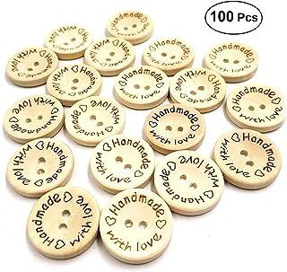 Milisten 100 peças de botões redondos de madeira feitos à mão 2 furos decorativos de costura botão decorativo DIY botão de...