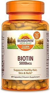 Sundown Naturals Biotin 5000 mcg, 60 Capsules (Pack of 3)