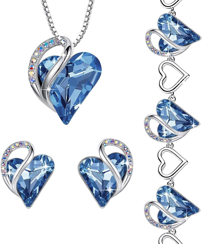 Leafael Infinity Love Crystal Heart Set Jewelry Alternative dealer Light Max 63% OFF Sap Bundle