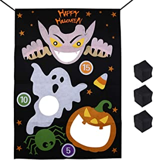 Halloween Bean Bag Toss Games Pumpkin Ghost Spider 3 Bean Bags - Halloween Games for Kids Party Decoration (Black-Ghost Pu...