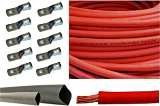 1/0 Gauge 1/0 AWG Red 25 Feet Welding Battery Pure Copper Flexible Cable + 10pcs of 3/8