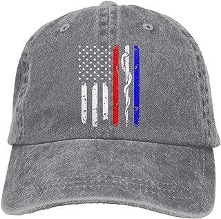 Men&Women Adjustable Yarn-Dyed Denim Baseball Caps Police & Firefighter & EMT Flag Plain Cap