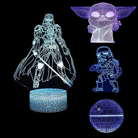 Star Wars Lampe 3D Illusion Veilleuse, 4 Motifs Star Wars Veilleuse avec Câble Interfcace et 7 Couleurs Changeantes, Chambre de Décoration pour Enfants
