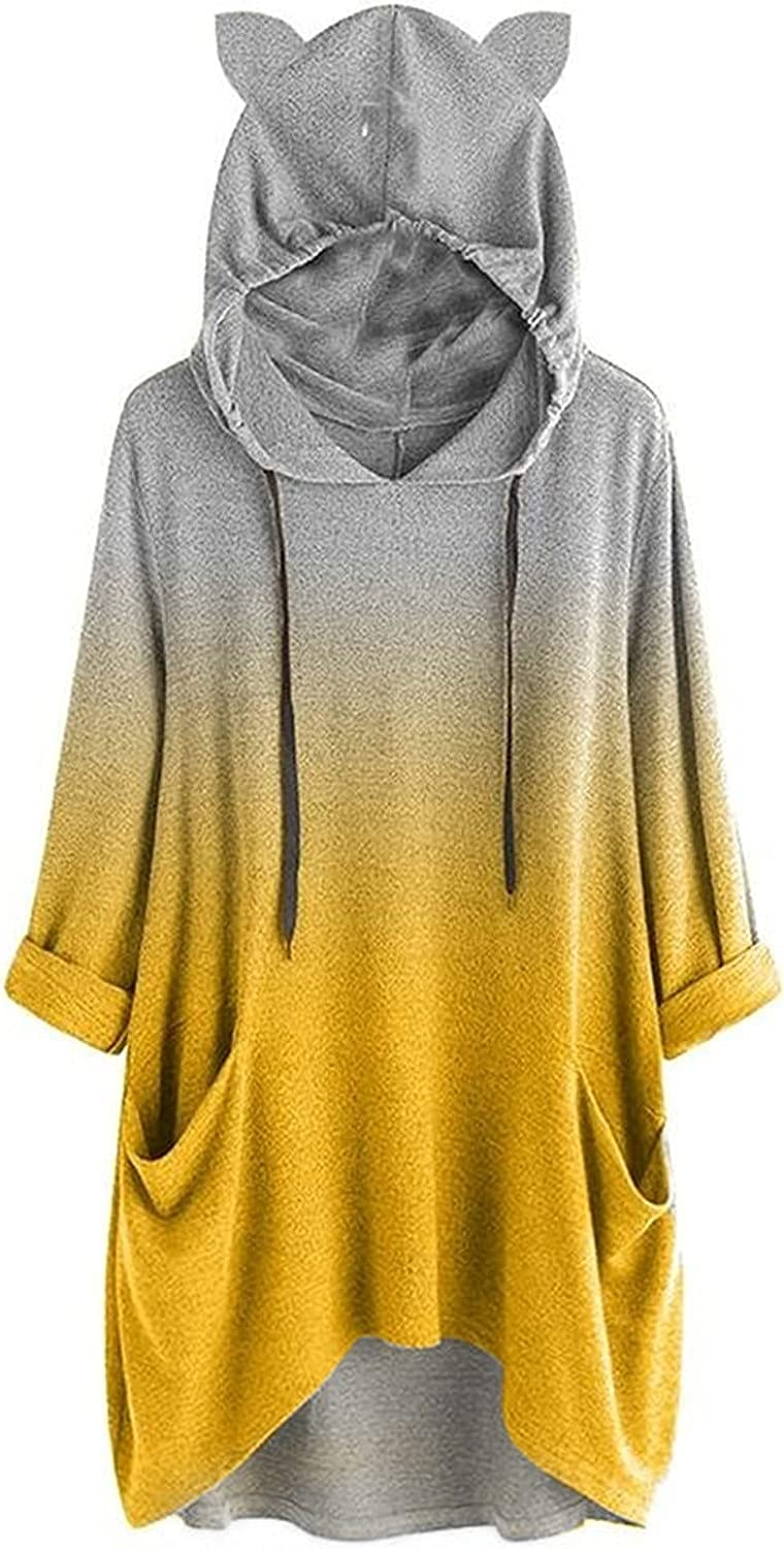 Womens Pullover Hoodies Long Sleeve Cat Hooded Attention brand Ear Sweatshirts Ranking TOP3 S