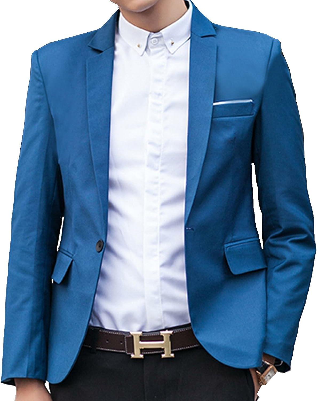 SWORLD-men Stylish One Button Suit Sport Coat Slim Fit Blazer Dress Jacket