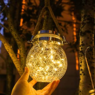 Solar Hanging Lantern Lights Outdoor Decorative Andvon Crackled Glass Ball Lights Solar Powered Crystal Ball Path Lights for Garden,Yard,Trees,Holiday Decoration,30 LED (1PACK-Warm Light)
