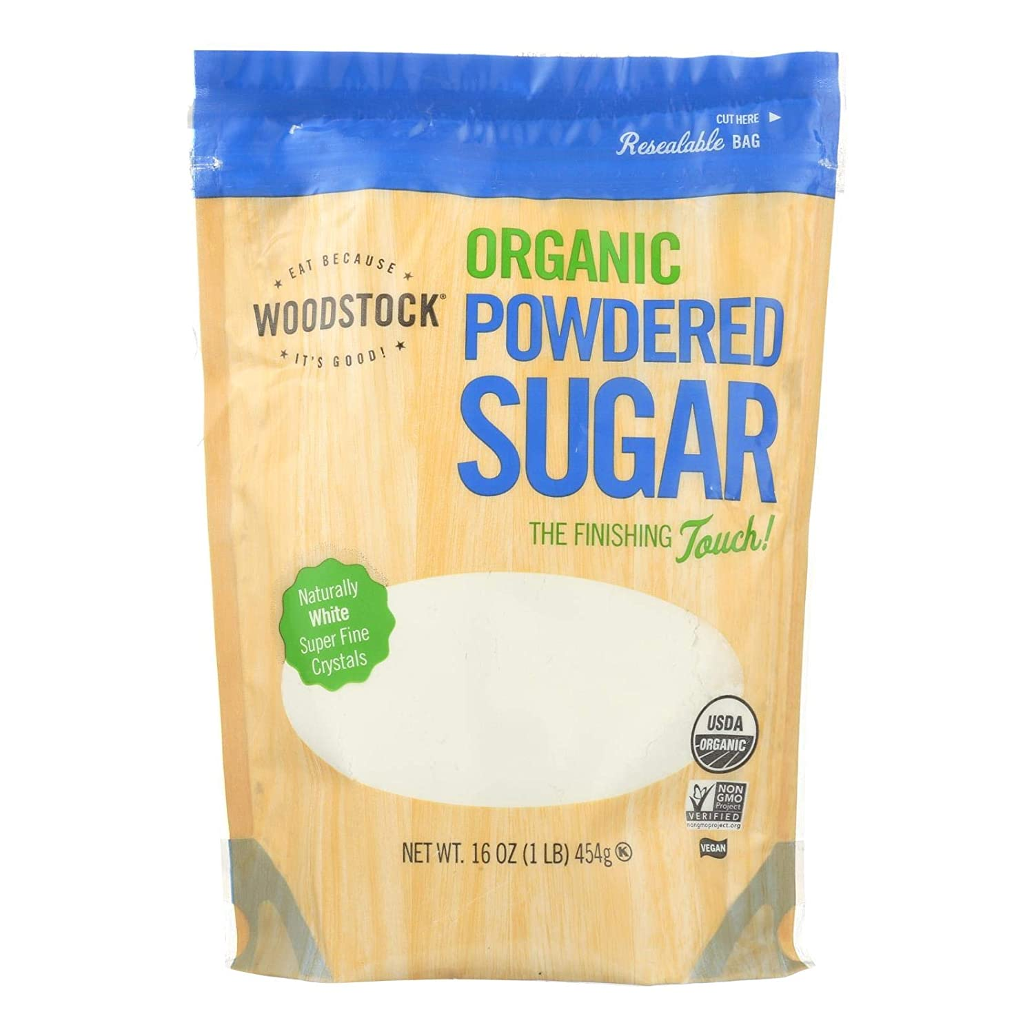Woodstock Sugar Organic NEW Powdered 6 of 16-Ounce Pack Over item handling