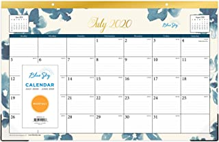 """Blue Sky 2020-2021 Academic Year Monthly Desk Pad Calendar, Trim Tape Binding, Two-Hole Punched, Ruled Blocks, 17"""" x 11"""", Bakah Blue (120948)"""