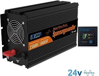 EDECOA Wechselrichter Reiner Sinus 1500w Spannungswandler 24v 230v mit Fernbedienung Spannungswandler 1500w KFZ Converter1500w