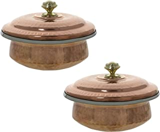 Tableware Indian Set of 2 Copper Serving Bowl Tureens with Lid 500 Ml