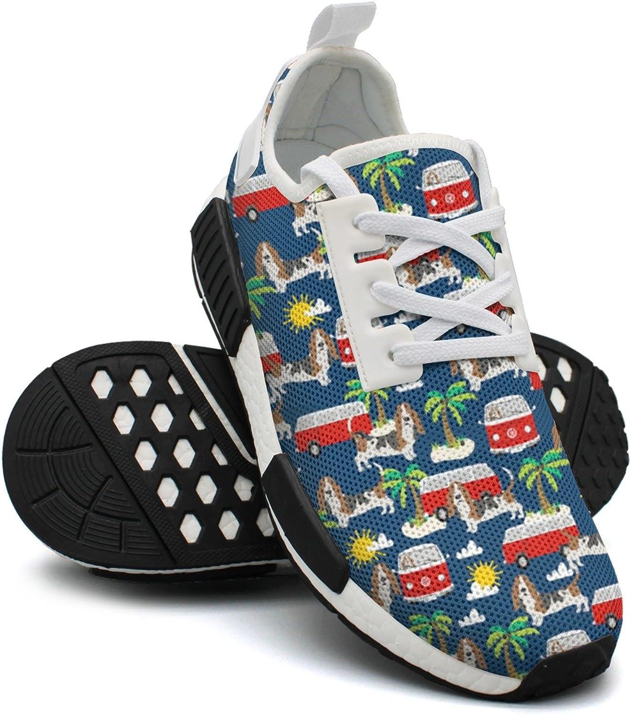 Basset Hound Dog Beach Dog Palm Tree Women's Vintage Lightweight Sneaker Gym Outdoor Athletic shoes