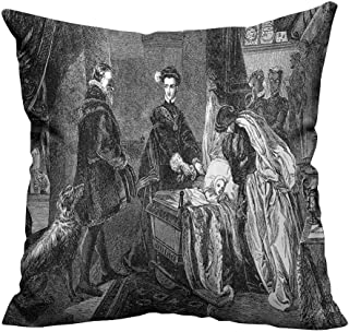 YouXianHome Print Bed Pillowcases Queen of Scots Leaving Stirling Castle AnSketch Crown Royalty Washable and Hypoallergenic(Double-Sided Printing) 27.5x27.5 inch