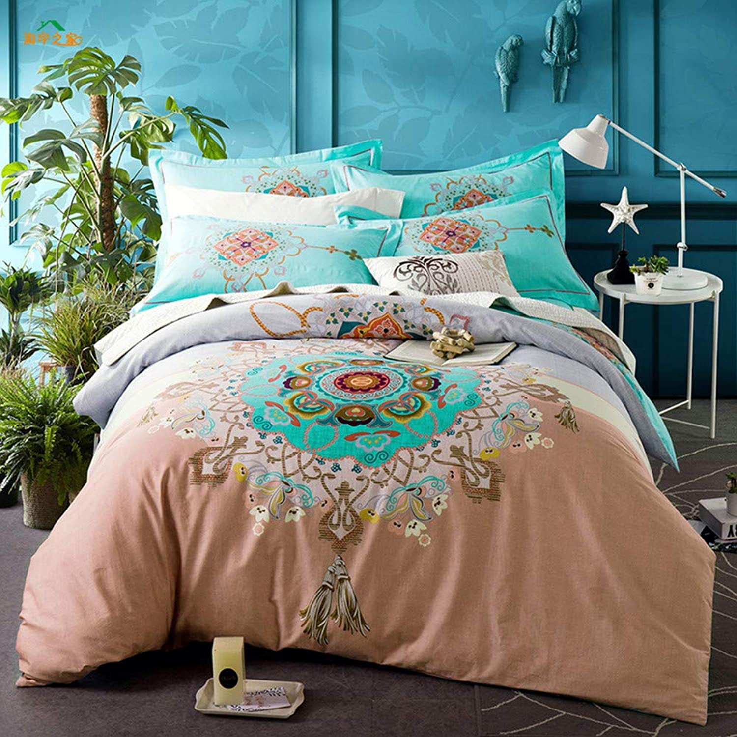 Abreeze Teal Shabby Floral Girls Duvet Cover Set Bohemian Bedding Set Full Size 4PCS