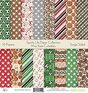 Pattern Paper Pack - Sports Life - Scrapbook Premium Specialty Paper Single-Sided 12