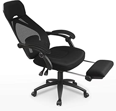 DEVAISE Ergonomics Recliner Office Chair, High Back Mesh Computer Desk Chair with Adjustable Lumbar and Footrest Support,Black