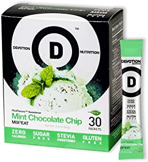 Devotion Nutrition Flex Flavors, Mint Chocolate Chip Stevia Instant Flavoring, Sugar Free Sweetener, Zero Calories, 30 Count