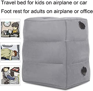 Junk Travel Foot Rest Pillow, Inflatable Adjustable Height Footrest Cushion for Foot Rest on Airplanes, Car, Train, Office, Airplane Bed for Kids/Toddler to Lay Down or Sleep on Long Flights (Grey)