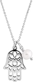 Hamsa Cultured Pearl' 5.5-6 mm Freshwater Cultured Pearl Pendant Necklace in Sterling Silver