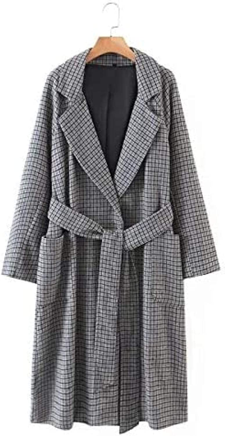 Women Gray Plaid Max 40% OFF Cheap Sale 63% OFF Sashes Long Woolen Pockets Side Lad Jacket Coat